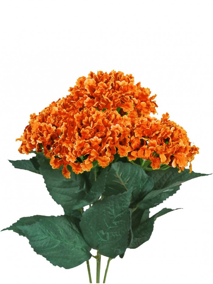Buy FourwallsArtificial Hydrangea Bouquet For Home, Events And Wedding Decor (48 Cm, Orange) Online