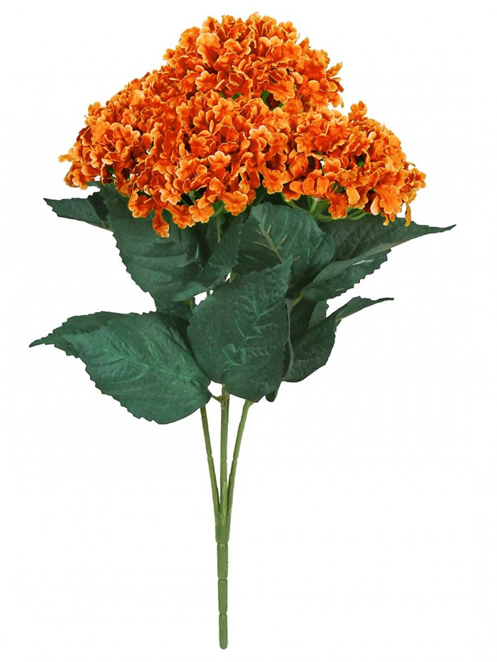 Buy Fourwalls Artificial Hydrangea Bouquet For Home, Events And Wedding Decor (48 Cm, Orange) Online