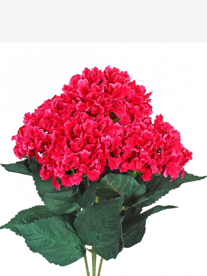 Buy FourwallsArtificial Hydrangea Bouquet For Home, Events And Wedding Decor (48 Cm, Dark/Pink) Onl