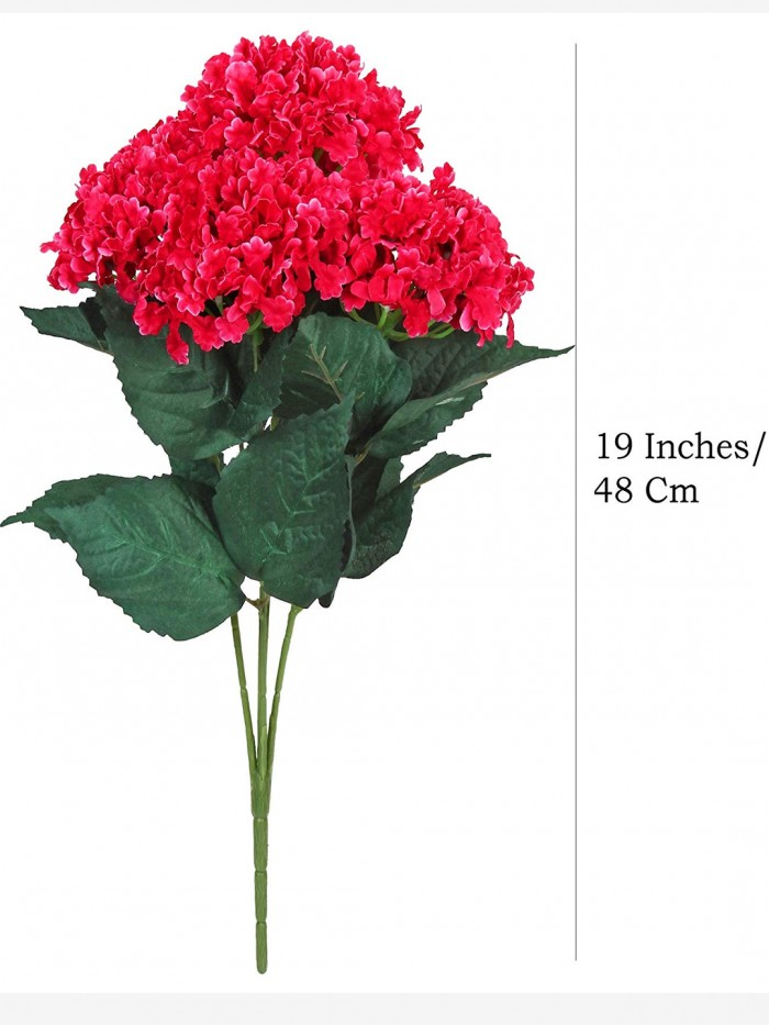 Buy Fourwalls Artificial Hydrangea Bouquet For Home, Events And Wedding Decor (48 Cm, Dark/Pink) Onl