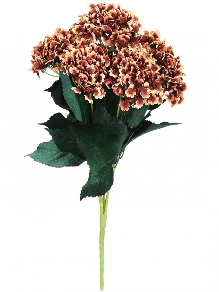 Buy Fourwalls Artificial Hydrangea Bouquet For Home, Events And Wedding Decor (48 Cm, Brown) Online