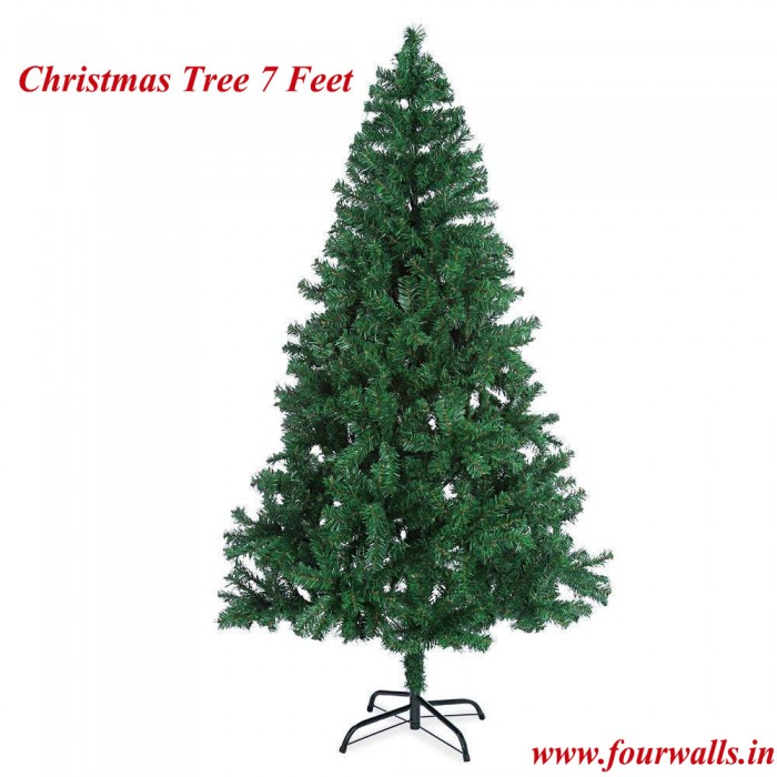 Buy Artificial Christmas Tree 7 FEET Tree 210 Cm, Natural Color (Green,) With Plastic Leaves, And St