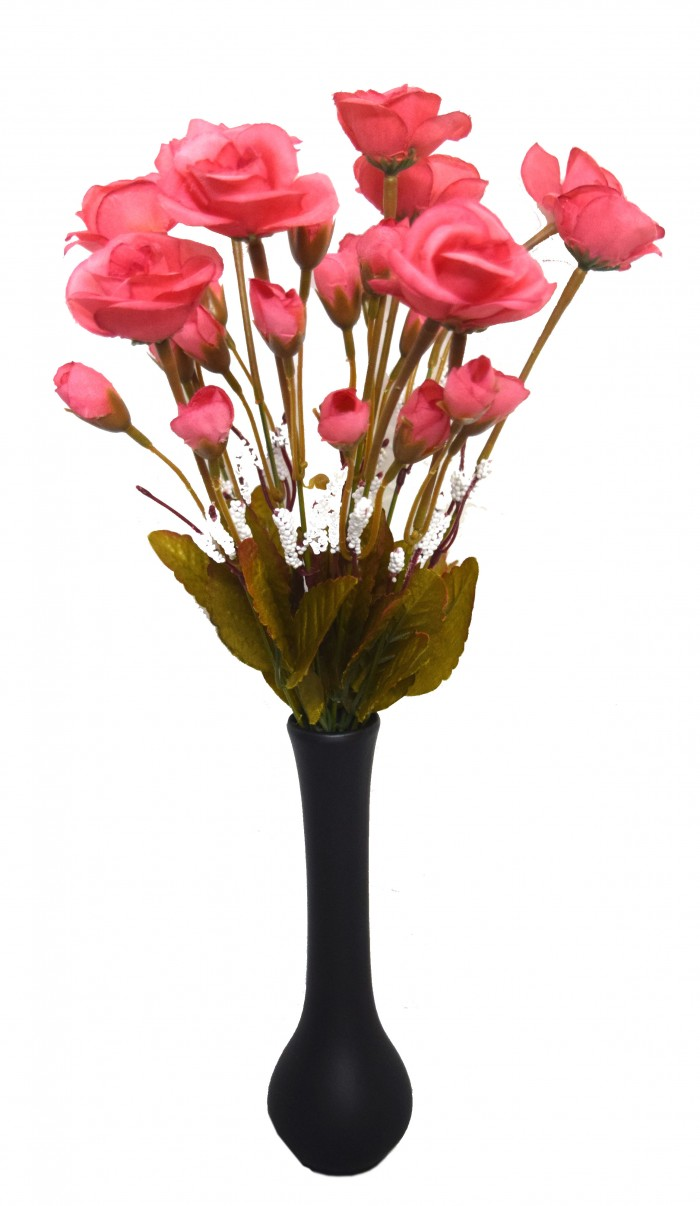 Buy Fourwalls Artificial Mini Rose Bunch (11 Branches With 33 Flowers,  Pink) Online