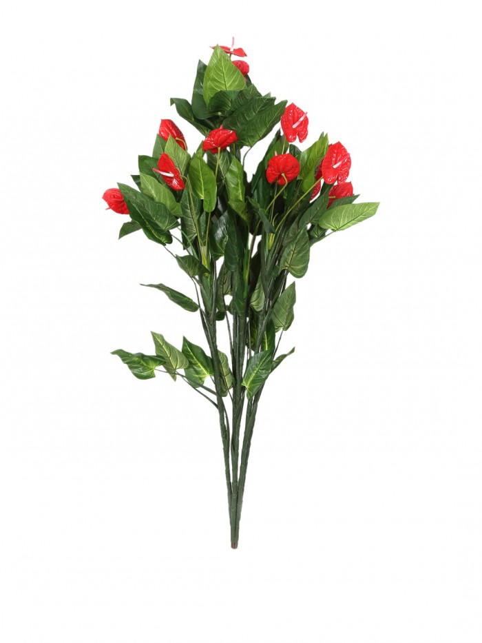 Buy Fourwalls Decorative Artificial Polyester, PVC And Plastic Anthurium Plant Without Plant (15 Cm
