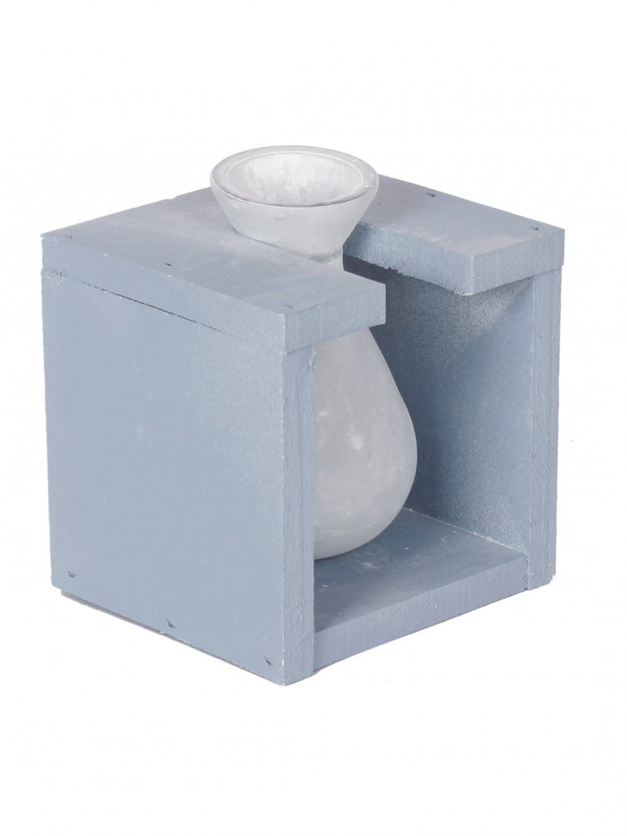 Buy Fourwalls Glass Vase In A Wooden Frame (12 Cm Tall, Blue) Online