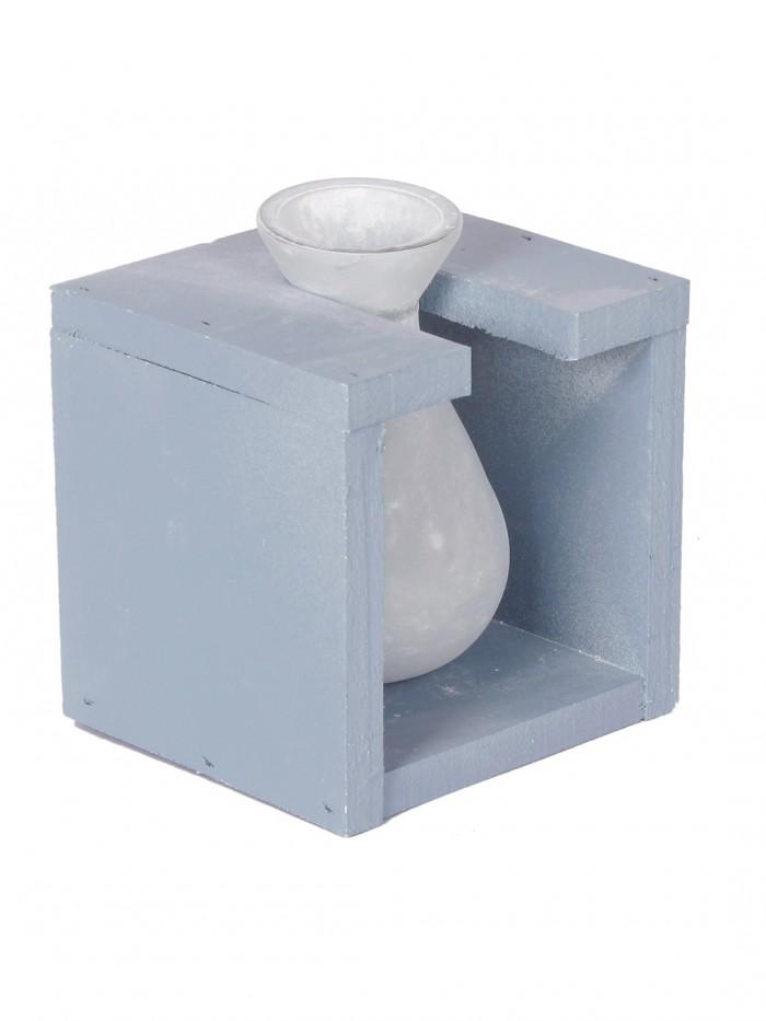 Buy Fourwalls Glass Vase In A Wooden Frame (12 Cm Tall, Blue) Online