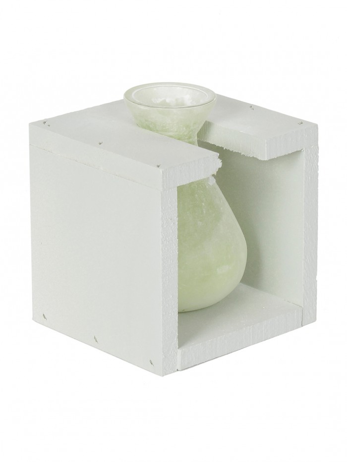 Buy Fourwalls Glass Vase In A Wooden Frame (12 Cm Tall, Green) Online