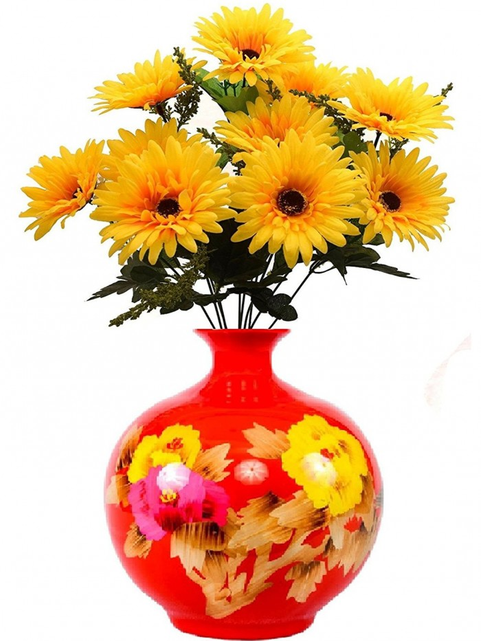Buy Fourwalls Decorations Artificial Synthetic Gerbera Flower Bunch (10 Flowers, Yellow, 46 Cm Tall)