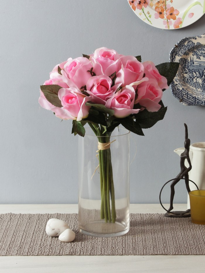 Buy Fourwalls Artificial Fabric Rose Bunch (33 Cm, 12 Flowers, Light Pink) Online
