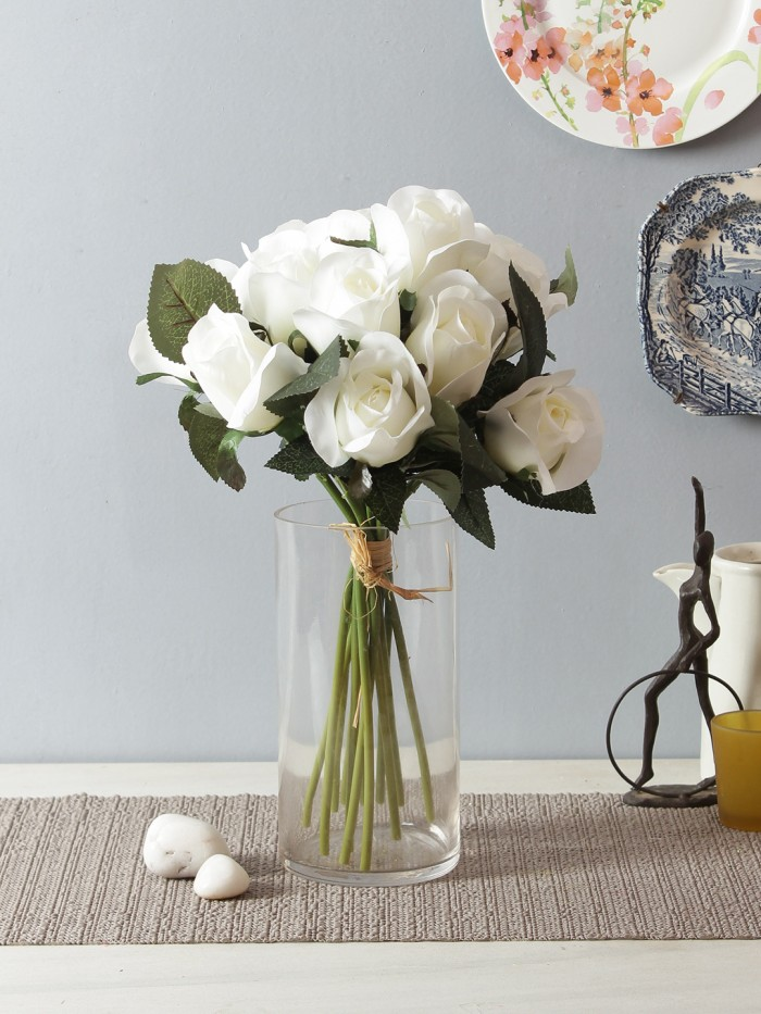 Buy Artificial Rose Bunch (12 Flowers, White) Online