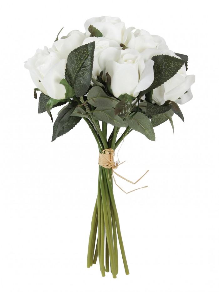 Buy Fourwalls Artificial Flower, Fake Floral Rose Silk Flower 12 Heads Hand Tied Bouquet Home Hotel