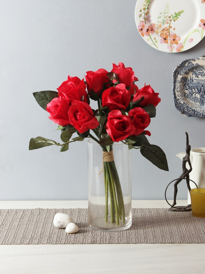 Buy Artificial Rose Bunch (12 Flowers, Red) Online
