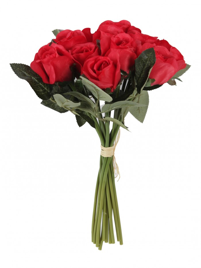 Buy FOURWALLS ARTIFICIAL ROSE BOUQUET (35 CM TALL, Red) Online