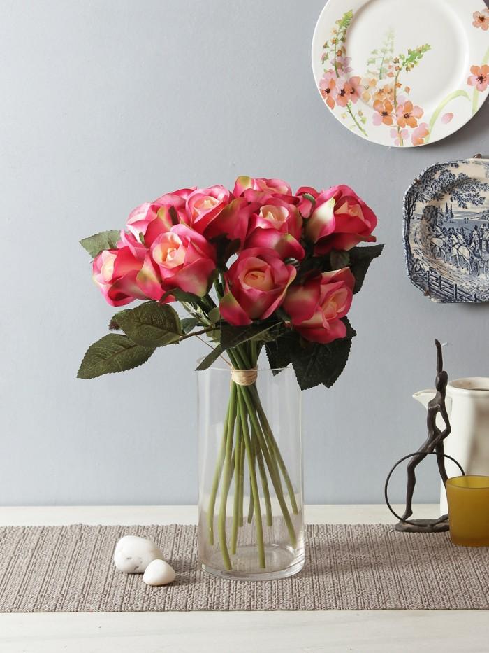 Buy FOURWALLS ARTIFICIAL ROSE BOUQUET (35 CM TALL, Dark/Pink) Online