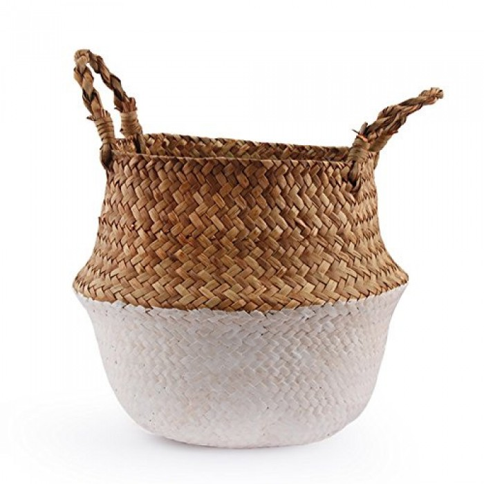 Buy Woven Seagrass Belly Basket For Storage, Laundry, Picnic, Plant Pot Cover, And Grocery And Toy S