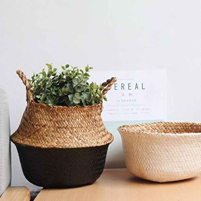 Buy Fourwalls Woven Seagrass Belly Basket For Storage, Laundry, Picnic, Plant Pot Cover, And Grocery