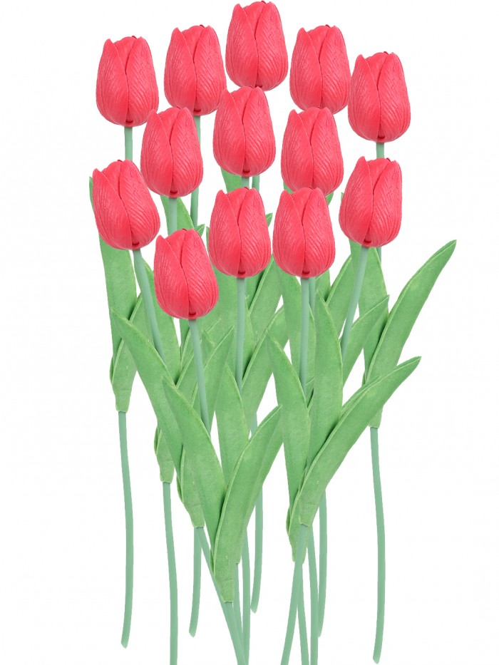 Buy Fourwalls Artificial Decorative Real Touch Mini Tulip Flower Sticks (33 Cm, Red, Set Of 12) Onli