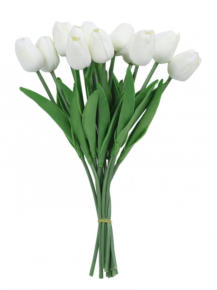 Buy Fourwalls Artificial Decorative Real Touch Mini Tulip Flower Sticks (33 Cm, White, Set Of 12) On