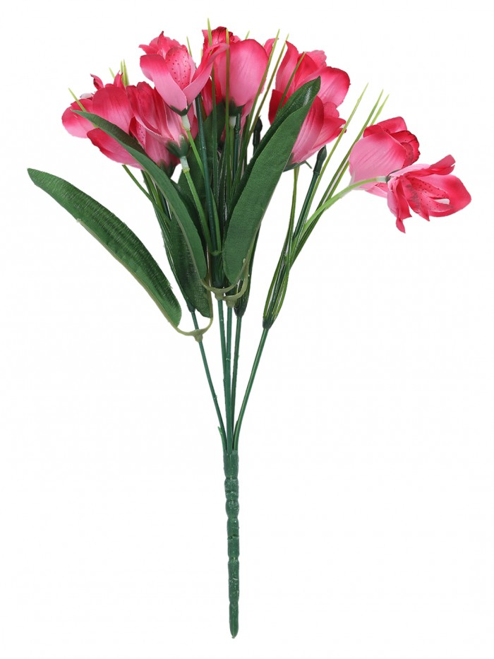 Fourwalls Artificial Mini Cymbedium Flower Bunches (31 cm Tall, Pink, 5 branches, Set of 5)