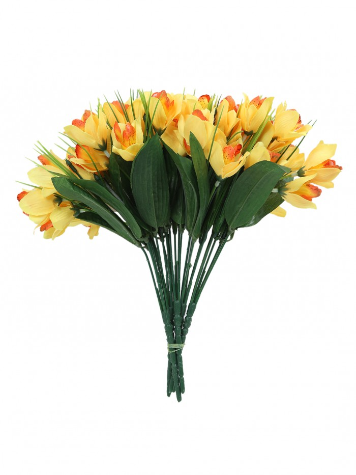 Fourwalls Artificial Mini Cymbedium Flower Bunches (31 cm Tall, Yellow, 5 branches, Set of 5)