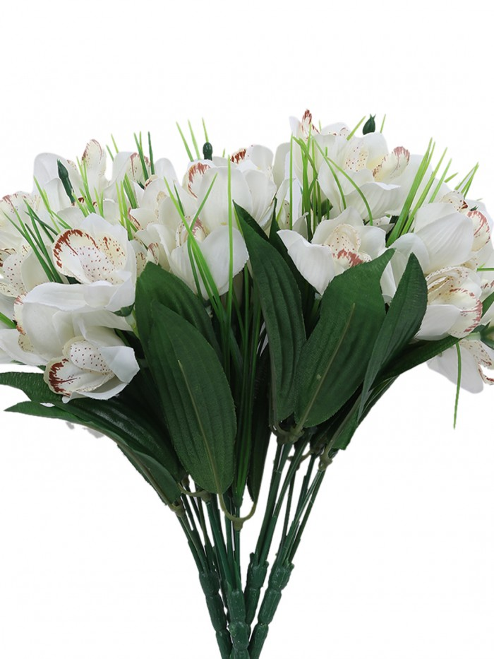 Buy Fourwalls Artificial Mini Cymbedium Flower Bunches (31 Cm Tall, White, 5 Branches, Set Of 5) Onl