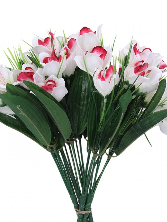 Buy Fourwalls Artificial Mini Cymbedium Flower Bunches (31 Cm Tall, White/Purple, 5 Branches, Set Of