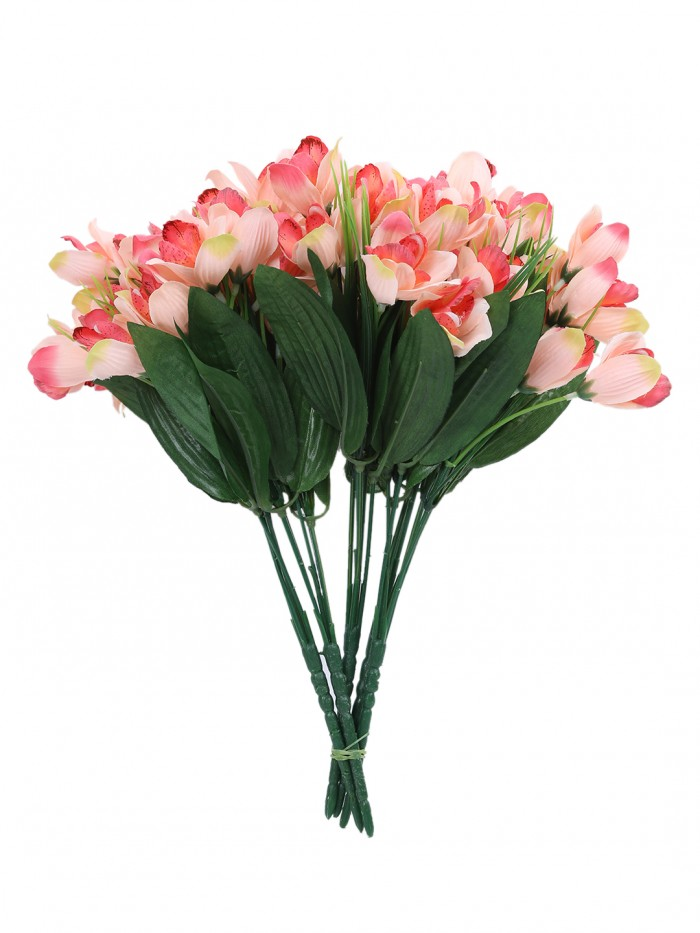 Buy Fourwalls Artificial Mini Cymbedium Flower Bunches (31 Cm Tall, Peach, 5 Branches, Set Of 5) Onl