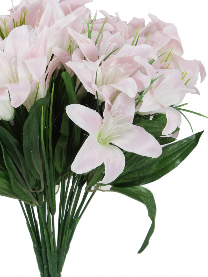 Buy Fourwalls Artificial Lily Flower Bunches For Home Decor (30 Cm Tall, 6 Branches, White, Set Of 5