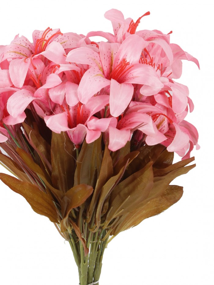 Buy Fourwalls Artificial Lily Flower Bunches For Home Decor (30 Cm Tall, 6 Branches, Pink, Set Of 5)