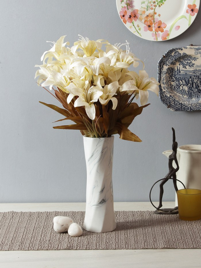 Buy Artificial Polyester Lily Bouquet(White) Online