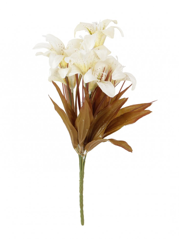 Buy Fourwalls Artificial Lily Flower Bunches For Home Decor (30 Cm Tall, 6 Branches, Peach, Set Of 5
