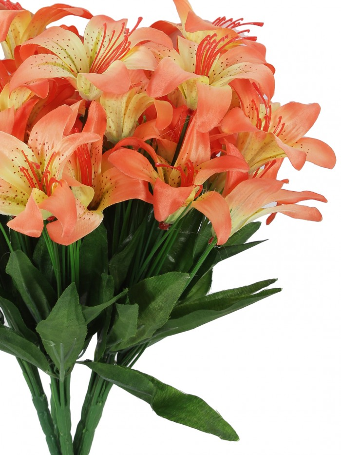 Buy Fourwalls Artificial Lily Flower Bunches For Home Decor (30 Cm Tall, 6 Branches, Orange, Set Of
