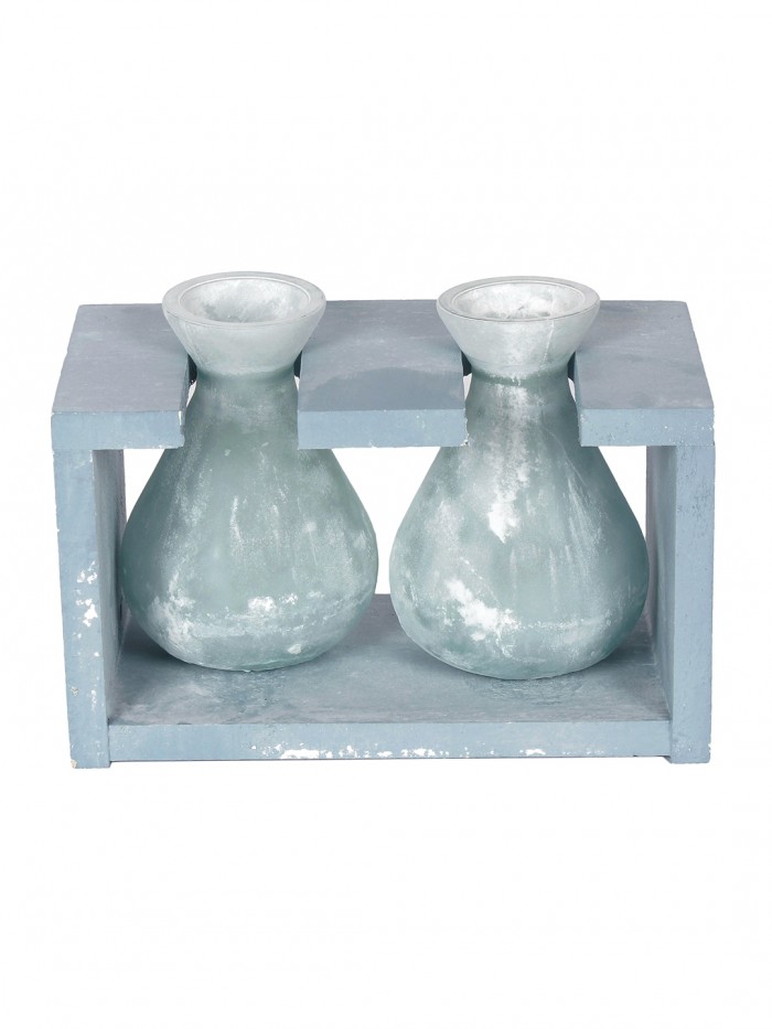 Buy Fourwalls Glass Vase In A Wooden Frame (19 Cm Tall, Blue) Online