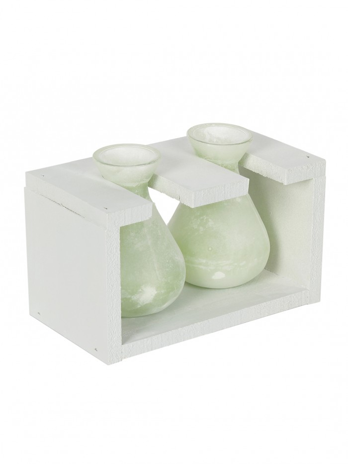 Buy Fourwalls Glass Vase In A Wooden Frame (19 Cm Tall, Green) Online