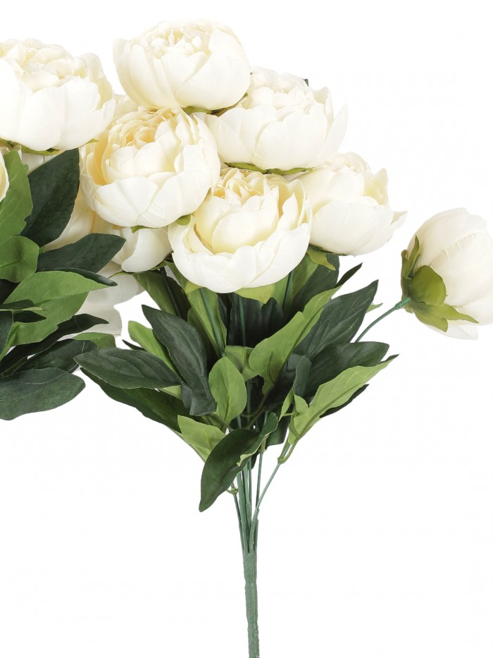 Buy Artificial Decorative Peony Flower Bunches (50 Cm Tall, 7 Branches And 7 Flowers, Off/White) Onl
