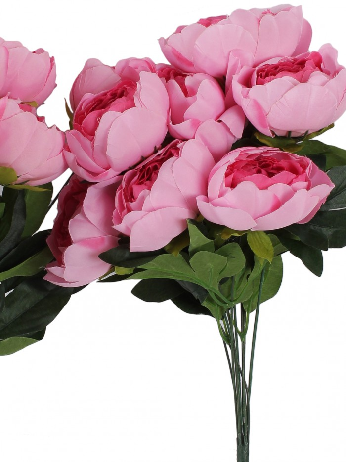 Buy Artificial Decorative Peony Flower Bunches (50 Cm Tall, 7 Branches And 7 Flowers, Pink) Online