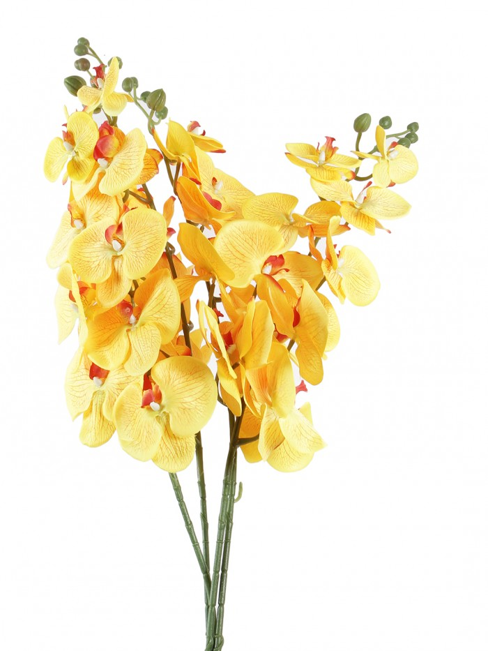Buy Decorative Artificial Orachid Flower Stems (90 Cm Tall, Yellow) Online