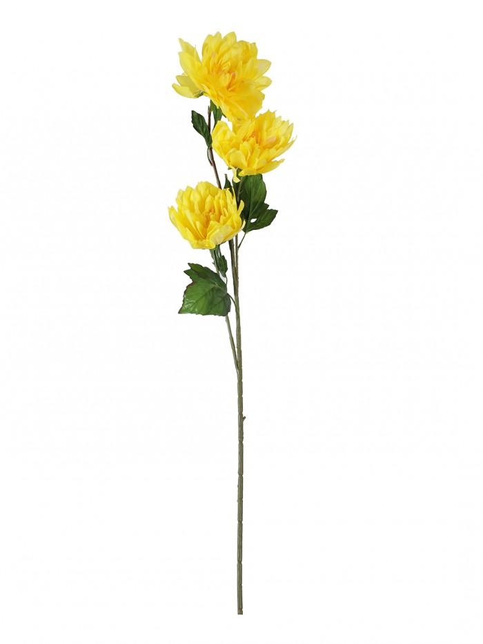 Buy Decorative Artificial Dehelia Flower Sticks (3 Head, 125 Cm Tall, Yellow) Online