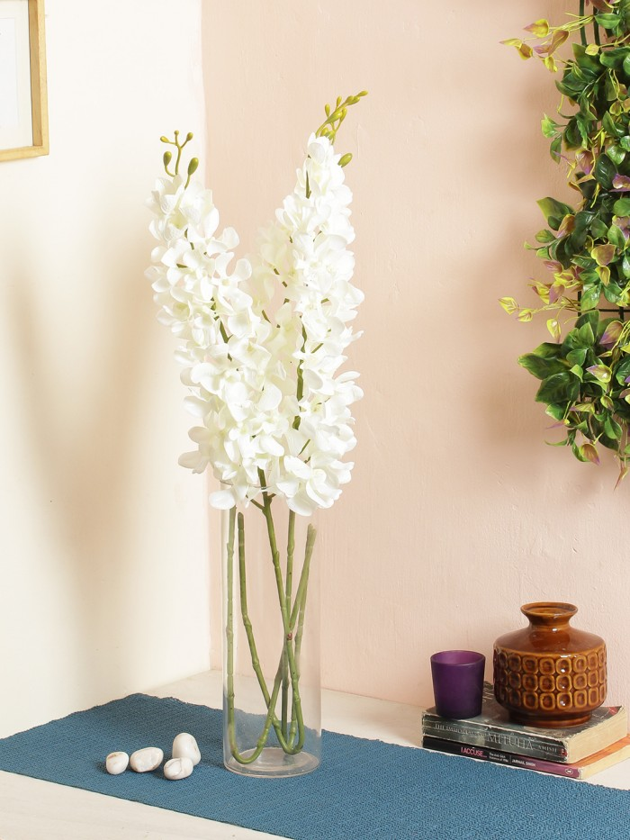 Buy Gorgeous Artificial Big Mokara Orchid (Set Of 2 White)) Online