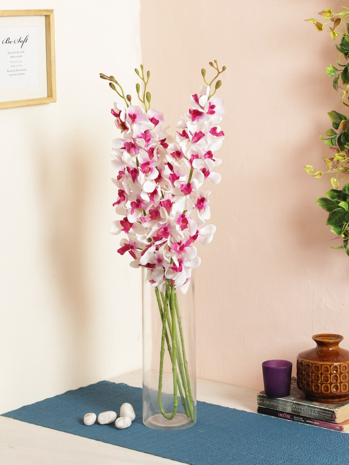 Buy Gorgeous Artificial Big Mokara Orchid (Set Of 2 Purple,white) Online