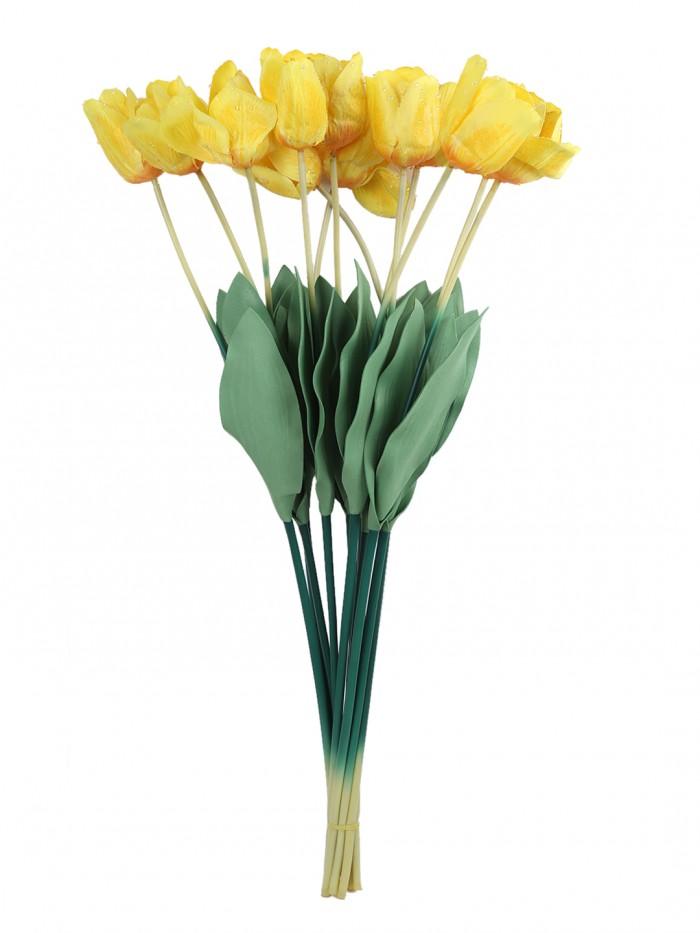 Buy Fourwalls Artificial Tulip Flower Sticks (65 Cm Tall, Yellow, Set Of 12) Online