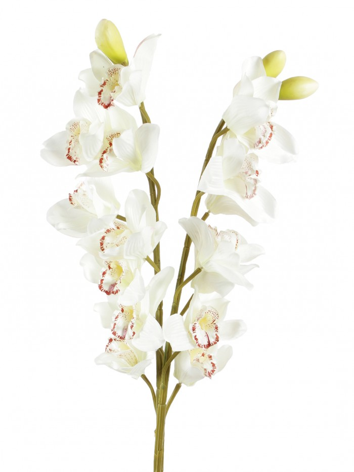 Buy Synthetic Cymbidium Orchid Flower (1 Stick, 11 Flowers, Purple) Online