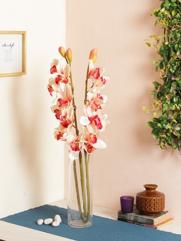 Buy Synthetic Cymbidium Orchid Flower (1 Stick, 11 Flowers, Red) Online