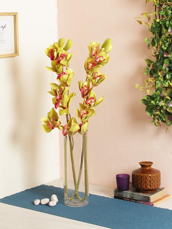 Buy Synthetic Cymbidium Orchid Flower (1 Stick, 11 Flowers, Purple) Online