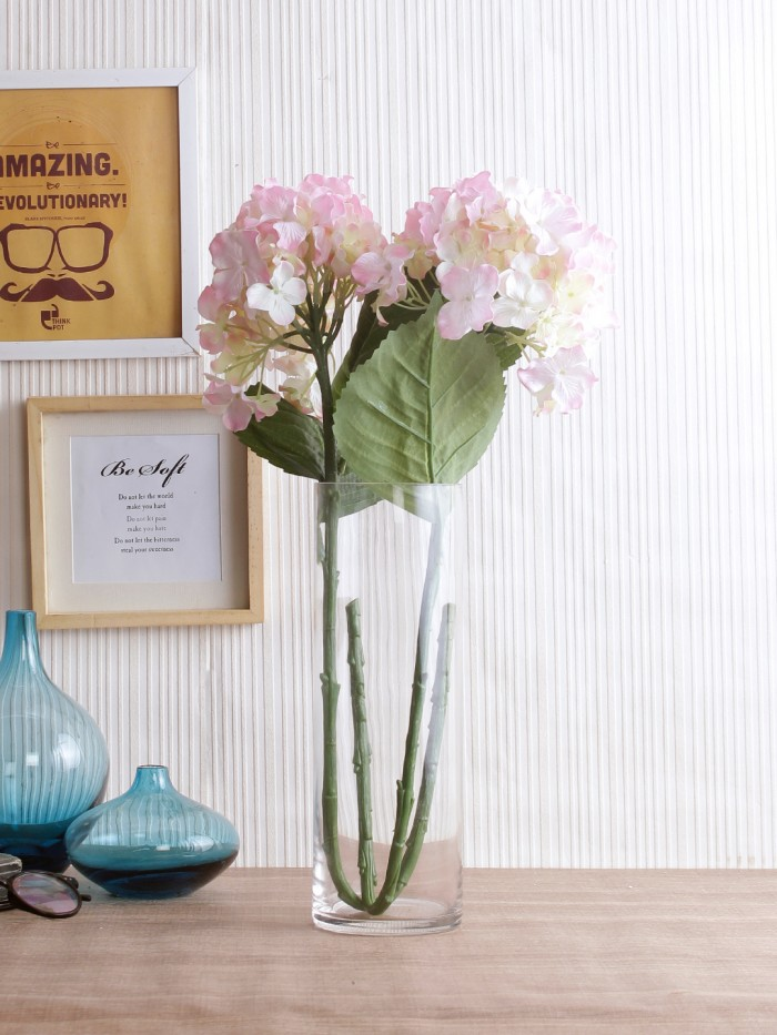 Buy Synthetic Hydrangea Flower (Set Of 2, 2 Sticks, Light Pink) Online