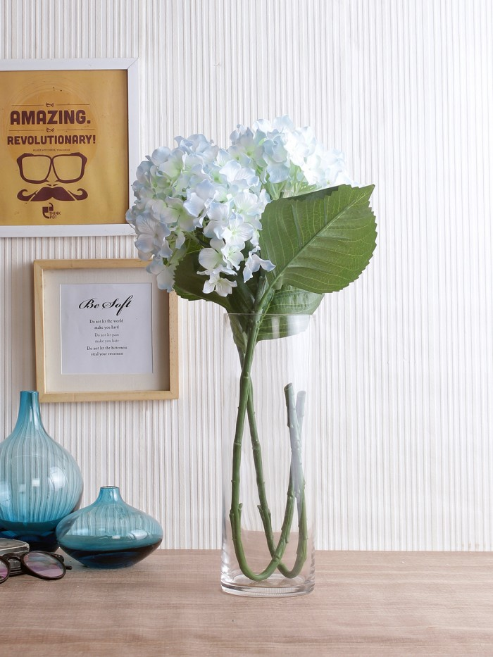 Buy Synthetic Hydrangea Flower (Set Of 2, 2 Sticks, Ight Purple) Online