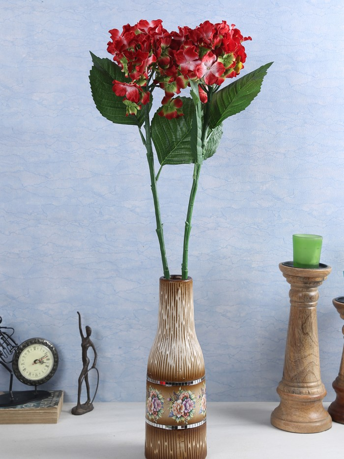 Buy Synthetic Hydrangea Flower (Set Of 2, 2 Sticks, Rani) Online