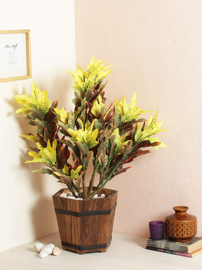Buy Artificial 60 Cm Tall Mini Croton Plant Without Pot(193 Leaves, Multicolour) Online