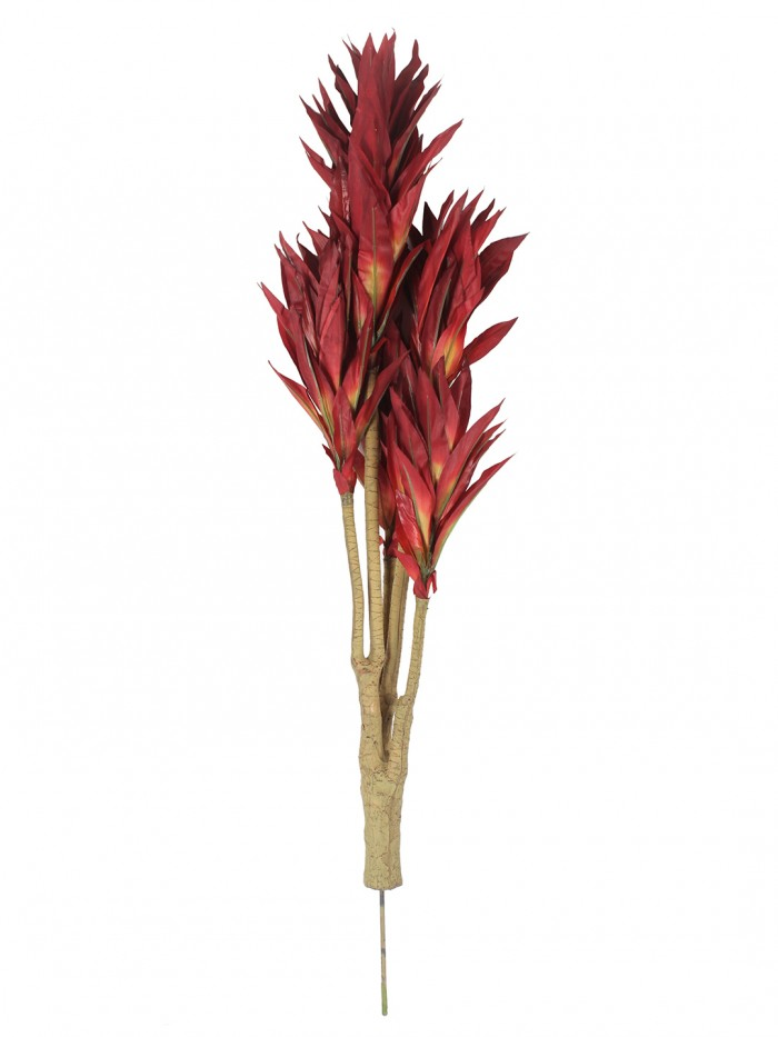 Artificial Dracaena Plant without Pot (86 cm tall, 5 branches, Red)