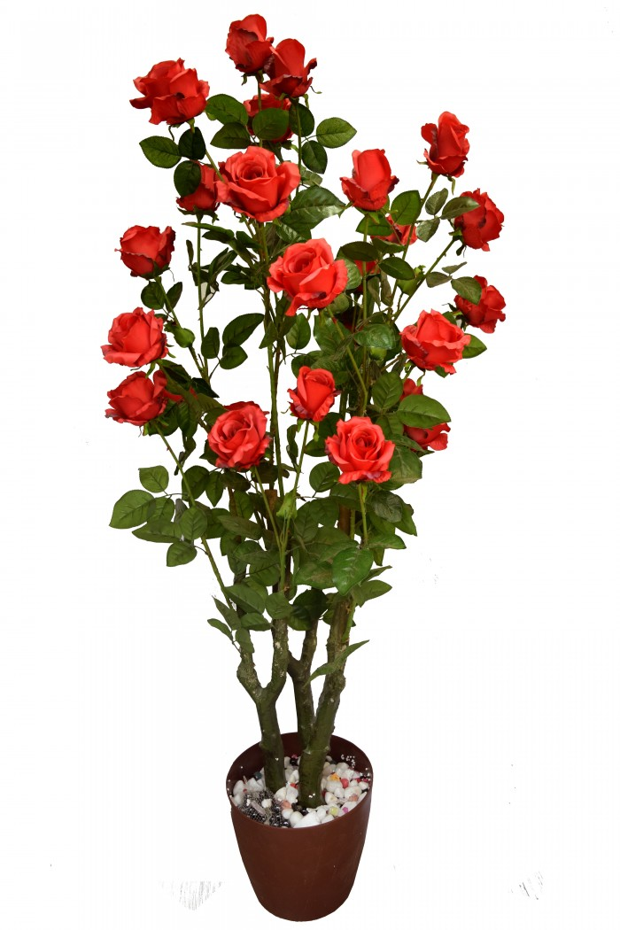Buy Fourwalls Decorative Polyester Artificial Rose Plant Without Pot (155 Cm, Red) Online